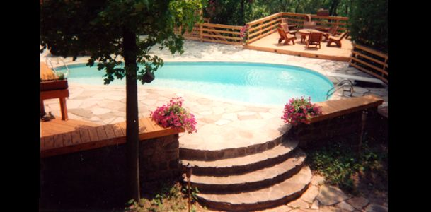 custom stone stairs with pool